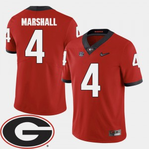 Men GA Bulldogs 2018 SEC Patch #4 Football Keith Marshall college Jersey - Red