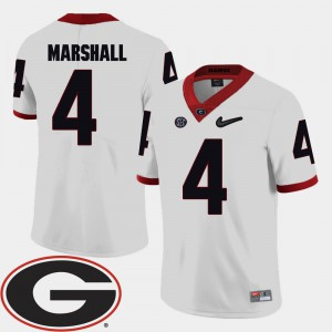 Men #4 Football University of Georgia 2018 SEC Patch Keith Marshall college Jersey - White