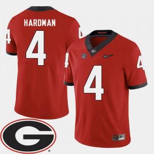 Men #4 Football GA Bulldogs 2018 SEC Patch Mecole Hardman college Jersey - Red