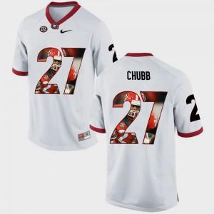 Men Pictorial Fashion #27 UGA Bulldogs Nick Chubb college Jersey - White