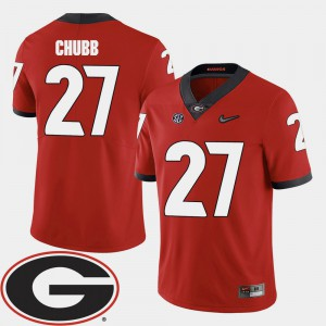 Men's 2018 SEC Patch Football UGA #27 Nick Chubb college Jersey - Red