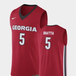 Men #5 Pape Diatta college Jersey - Red Replica Basketball Georgia