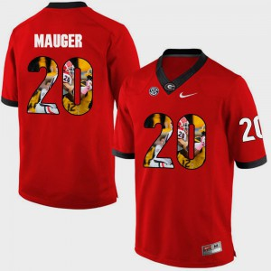 Men #20 Pictorial Fashion UGA Bulldogs Quincy Mauger college Jersey - Red