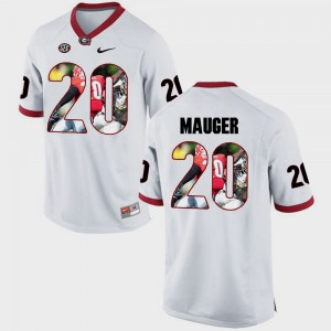 Men's Pictorial Fashion #20 University of Georgia Quincy Mauger college Jersey - White
