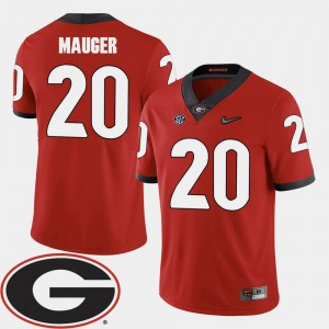 Men University of Georgia Football 2018 SEC Patch #20 Quincy Mauger college Jersey - Red