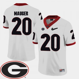 Mens #20 Football GA Bulldogs 2018 SEC Patch Quincy Mauger college Jersey - White