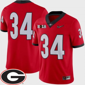 Men's #34 UGA Bulldogs 2018 National Championship Playoff Game Football college Jersey - Red
