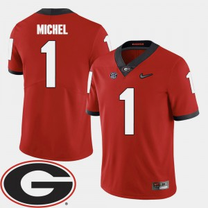 Men's 2018 SEC Patch Georgia #1 Football Sony Michel college Jersey - Red