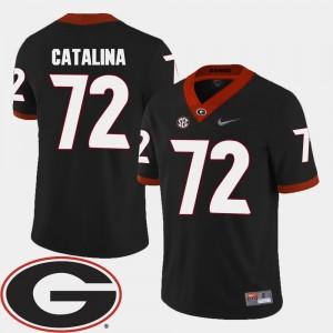 Men 2018 SEC Patch Football #72 Georgia Bulldogs Tyler Catalina college Jersey - Black