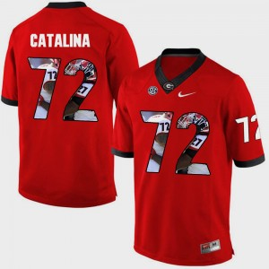Mens #72 Pictorial Fashion University of Georgia Tyler Catalina college Jersey - Red