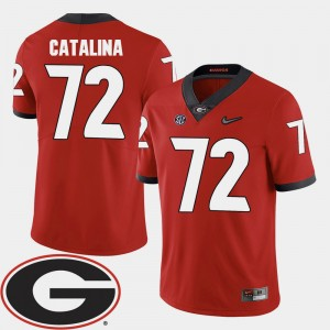 Men Georgia #72 Football 2018 SEC Patch Tyler Catalina college Jersey - Red