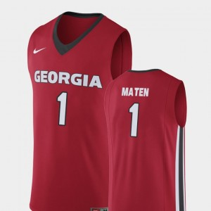 Mens Replica Basketball #1 UGA Bulldogs Yante Maten college Jersey - Red