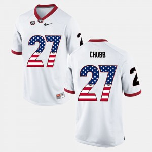 Men's University of Georgia #27 US Flag Fashion Nick Chubb college Jersey - White