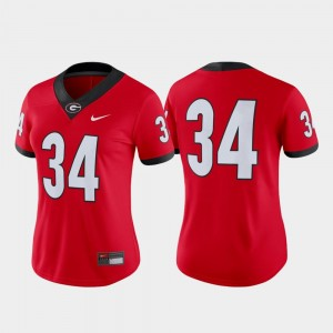 Womens #34 UGA Game Football college Jersey - Red